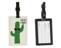 Green Cactus Free Hugs Silicon Luggage Tag