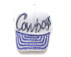 Blue COWBOYS Crystal Script White Ball Cap