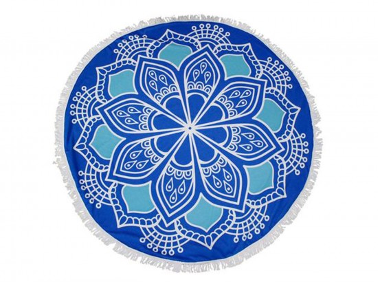 Blue Lotus Pattern Round Beach Blanket