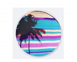 Blue Palm Tree Round Beach Blanket