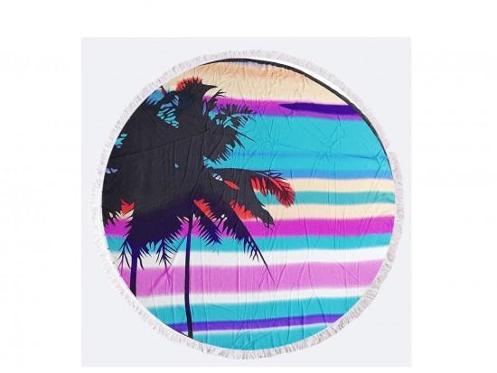 Blue Palm Tree Round Beach Blanket