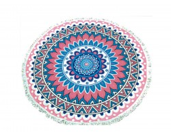 Pink Persian Pattern Round Beach Blanket