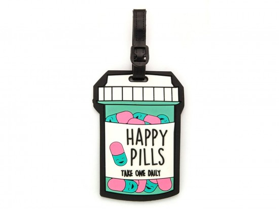 Happy Pill Bottle Silicon Luggage Tag