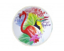 Multi Tropical Birds Round Beach Blanket