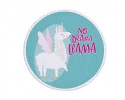 Multi No Drama Llama Round Beach Blanket