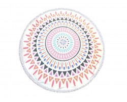 Multi Mandala Pattern Round Beach Blanket