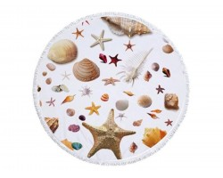 Sea Shells Theme Round Beach Blanket