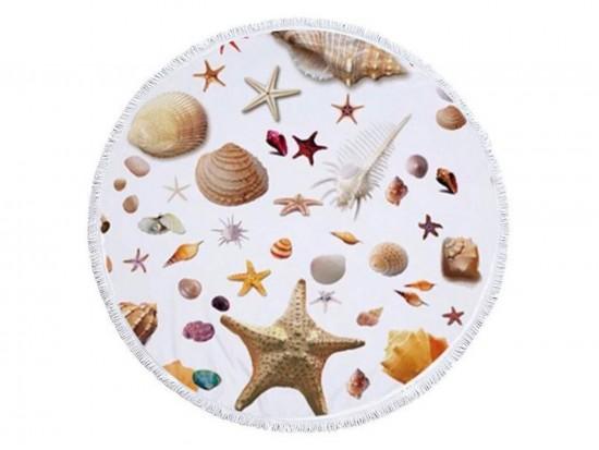 Sea Shells Theme Round Beach Blanket