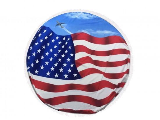 American Flag Jet Scene Round Beach Blanket