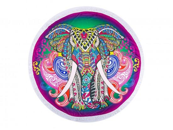 Multi Boho Elephant Theme Round Beach Blanket