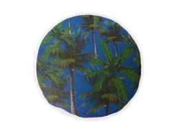 Green Palm Trees Round Beach Blanket