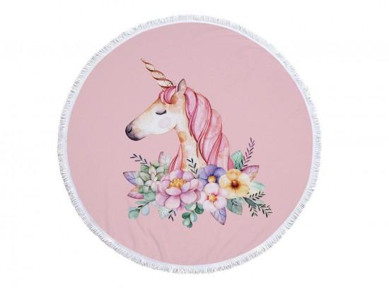 Pink Unicorn Floral Round Beach Blanket