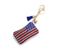 Red White Blue USA American Flag Puff  Key Chain