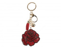 Red Black Rose Puff Tassel Key Chain