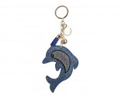 Light Blue Dolphin Puffy Tassel Keychain