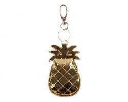 Gold Metallic Puff Pineapple Key Chain