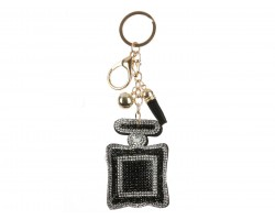 Black Clear Square Perfume Bottle Puff Key Chain
