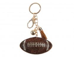 Brown Clear Football Puff Tassel Key Chain