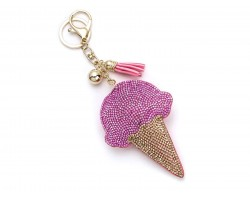 Pink Ice Cream Cone Tassel Puffy Key Chain