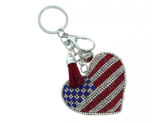 USA Flag Heart Tassel Puffy Key Chain