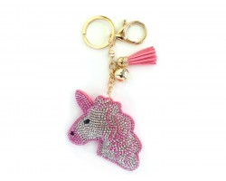 Pink Color Unicorn Head Tassel Puffy Keychain