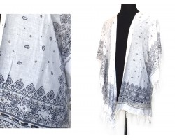 White Navy Paisley Boho Pattern Tassel Kimono