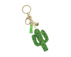 Green Crystal Cactus Tassel Puffy Keychain