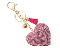 Pink Crystal Heart Tassel Puffy Keychain