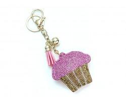 Pink Crystal Cupcake Tassel Puff Key Chain