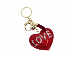 Red Crystal Heart Love Tassel Puffy Keychain
