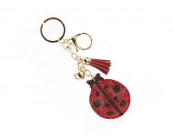 Red Crystal Ladybug Tassel Puff Keychain