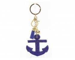 Blue Anchor Tassel Puffy Keychain