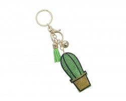 Green Cactus in Pot Crystal Tassel Puffy Keychain