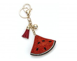 Red Watermelon Wedge Tassel Puffy Keychain