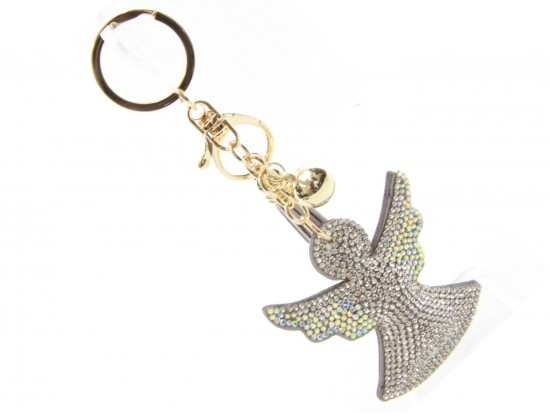 Clear Angle Tassel Puff Key Chain