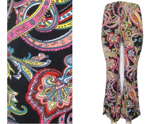 Multi Large Paisley Flowers Bell Bottoms