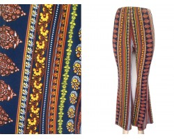 Dark Multi Boho Print Bell Bottom Pants