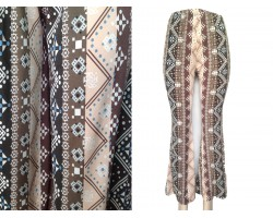 Brown Multi Tribal Print Bell Bottom Pants