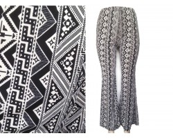 Black White Tribal Print Bell Bottom Pants