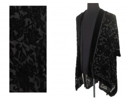 Black Rose Velvet Burn Out Kimono