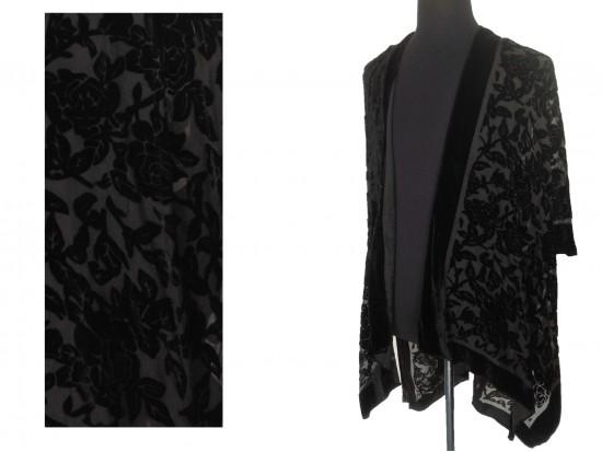 Black Rose Velvet Burn Out Kimono