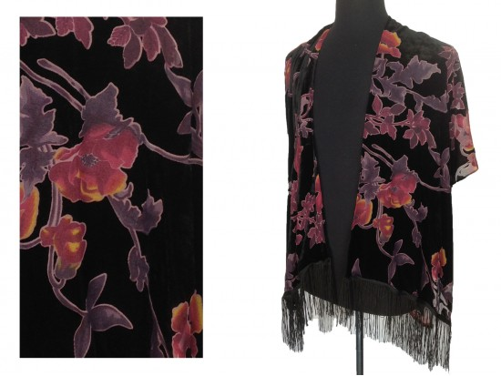 Black Burgundy Flowers Stem Tassel Bottom Kimono