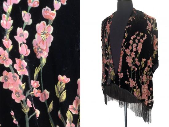 Black Burgundy Crepe Myrtals Bottom Tassel Kimono