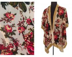 Beige Red Rose Velvet Kimono