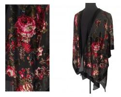 Black Red Rose Velvet Kimono