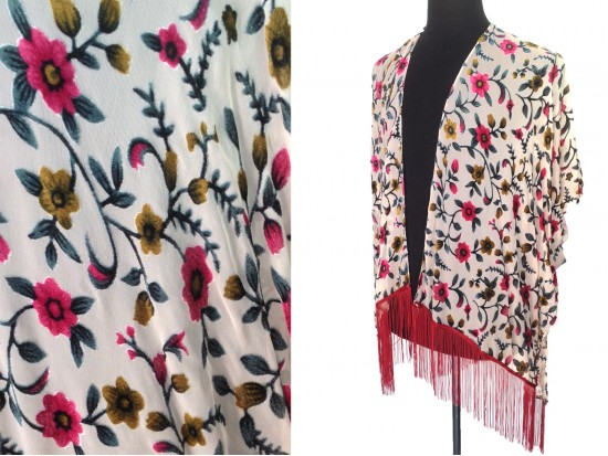Maroon Beige Small Flowers Tassel Kimono