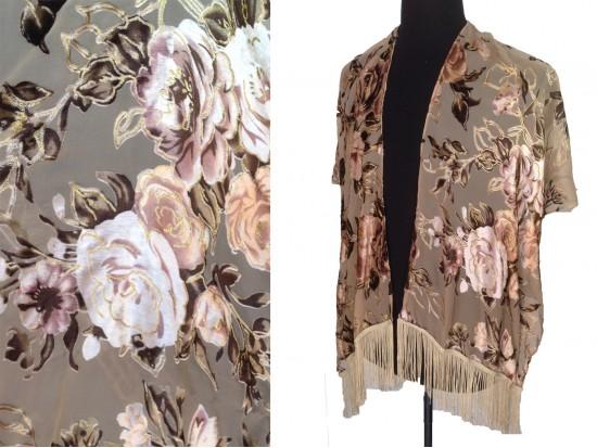 Light Brown Beige Roses Tassel Kimono