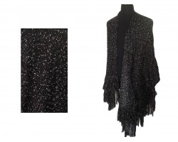 Black White Woven Thick Tassel Tie Poncho