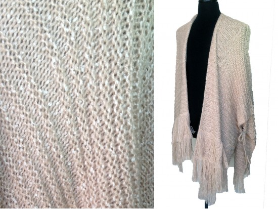 Pink White Woven Thick Tassel Tie Poncho