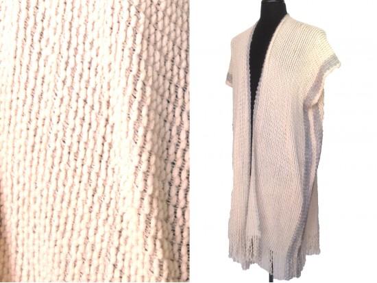 Beige Gray Stripped Woven Tassel Poncho